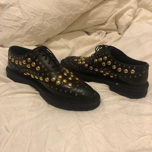 Burberry Black Leather Deardown Studded Oxfords